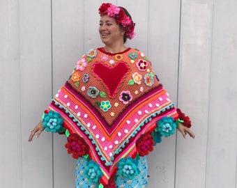 Crocheted poncho pollevie poncho ibizastyle adult size crochet
