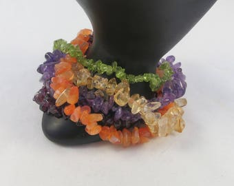 Multi Strand Multi Gem Chips Colorful Bracelet w. Silver Sterling Clasp