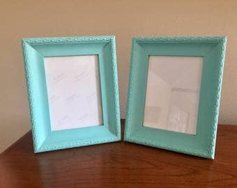 2 5x7 picture frames, robins egg blue, lightly distressed, table top or wall frames