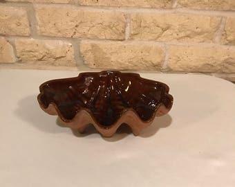Vintage Frankoma Pottery Clam Shell Bowl
