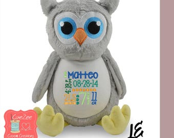Personalized Owl Stuffed Animal, Personalized Baby Gift , Birth Announcement Gift, Baby Shower Gift, Cubbie, Custom, Stuffy