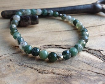Tribal sterling silver and MOSS agate natural pearl bracelet man palette of Greens