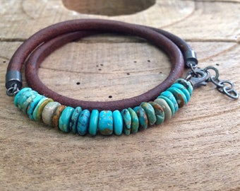 Adjustable double wrap, Men's Bracelet, Antique Eco Leather Soft Brown, Arizona Turquoise, Oxidized 925 Silver, Urban Rustic
