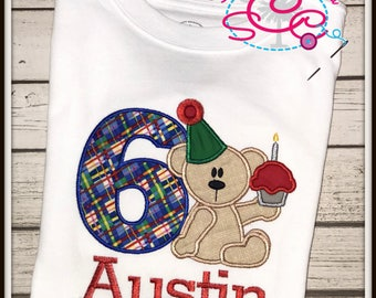Personalized Teddy Bear Birthday Shirt--Boys Birthday Shirt--Teddy Bear Shirt--Boys Birthday--Cupcakes