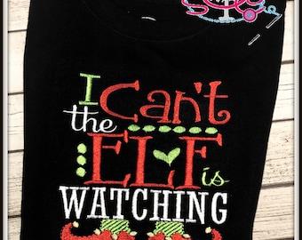 The Elf is Watching Christmas Shirt/Bodysuit--Christmas Shirt--Girls Christmas Clothing