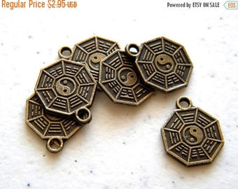 HALF PRICE 6 Bronze Bagua Charms - I Ching Feng Shui Tao - Double Sided