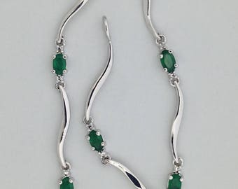 Natural Emerald with Diamond Accent Bracelet 925 Sterling Silver