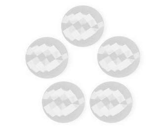 5 white buttons plastic faceted 15 mm