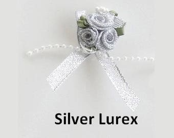 3 small silver satin roses bouquet 3