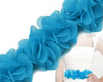 Gathered 6 12 cm turquoise blue organza Ribbon