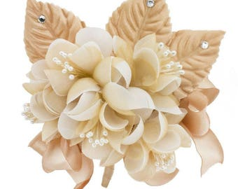 Champagne satin organza flowers