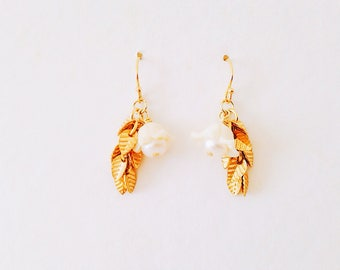 14 k gold filled earrings bells flower Freshwater Pearl small leaf