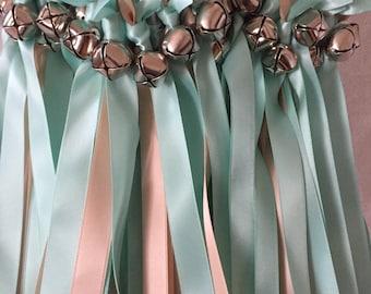 50 Wedding Wands/Wedding Ribbon Wands/Wedding Wand/Aqua and Blush