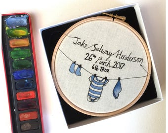 Newborn baby personalised embroidery