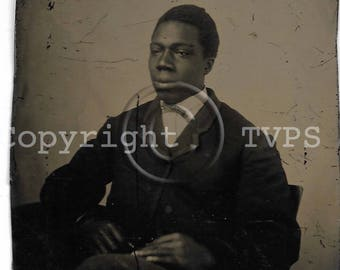 No2 African American Tintype photograph of a Seated Man, Victorian Fashion