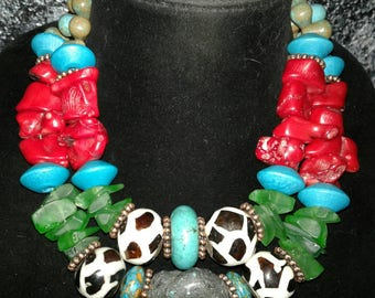 Turquoise Coral Tribal Statement Necklace KATROX Bold Chunky Exotic Wild Blue Green Red Necklace Cruise Jewelry Haute Couture Wow Factor