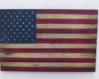 Rustic Wooden American Flag, 23 X 36 inches. Made from recycled fencing. Free Shipping  F
