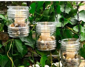 50% OFF Hanging candle holders - rustic wedding candleholders - (set of 3)