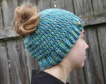 RTS Messy Bun Hat, Blue Green Ponytail Beanie, Ready to Ship Multicolored Handmade Crochet Messy Bun Beanie, Blue Green Grey Knit Button Hat