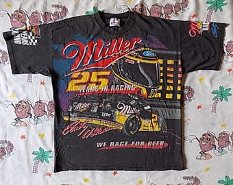 Vintage 90's Rusty Wallace Miller Racing T shirt, size L/XL NASCAR We Race For Beer!