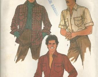 Vintage Simplicity Men'x Button Down Shirt Pattern Size 38 Chest 38 circa 1984