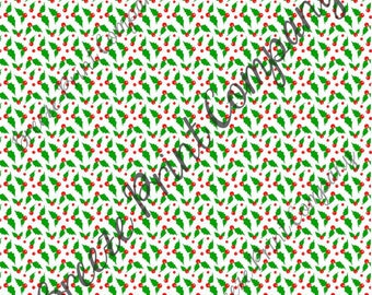 Red, green and white Christmas holly pattern craft vinyl pattern sheet - HTV or Adhesive Vinyl -  winter holiday printed vinyl HTV1390