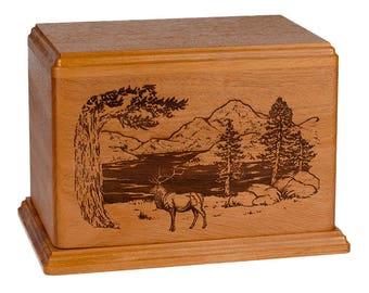 Mahogany Elk Wood Cremation Urn