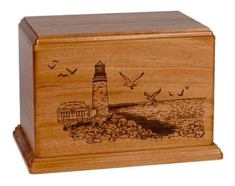 Mahogany Lighthouse Wood Cremation Urn