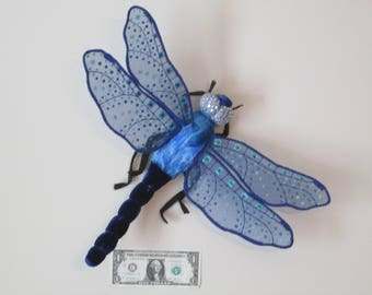 Dragonfly Art - Wall Hanging - Home Decor - Housewarming Gift - Birthday Gift - Dark Blue Velvet