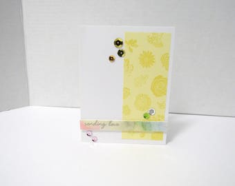 Handmade greeting card - Sending love - Floral card - Watercolor - Silver metallic - Just because card - Gift for him - Gift for her