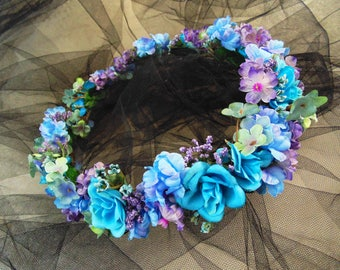 Blue-Violet Flower Crown, Bridesmaid Tiara, Baby Shower Crown, Renaissance Fair Tiara, Fairy Crown, Wedding Shower Headdress