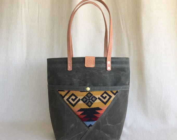 Madison - waxed canvas, denim & wool Tote FREE SHIPPING