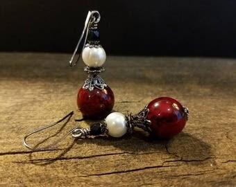 Red and Black Earrings, Bama Earrings, University of Alabama Jewelry, Alabama Earrings