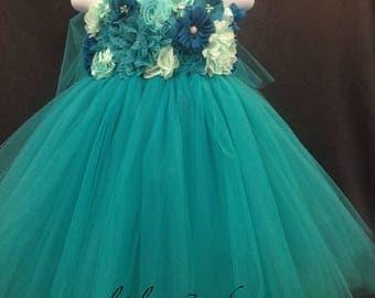 Teal Flower Girl Dress, Teal Tutu Dress, Dark Turquoise Tutu Dress, Aqua Marine Tutu Dress, Dark Aqua Flower Girl Dress, Teal Tutu Dress