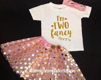 Pink Gold Tutu Set,  Birthday Set, Second Birthday, Pink Birthday Tutu, Two Legit To Quit Birthday Tutu Set,  Second Birthday Tutu Outfit