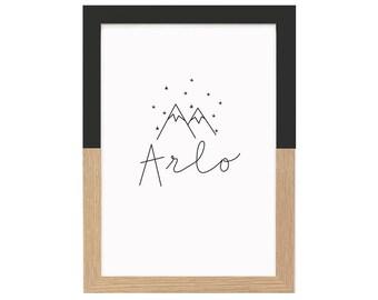 Personalised Name Print Mountains And Stars  | Nursery Prints, Kids Room Art, Monochrome Wall Art, Black And White Wall Art, Scandi, Custom