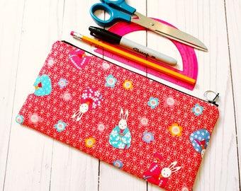 Japanese Kimono bunny Zippered Pencil Case / Large