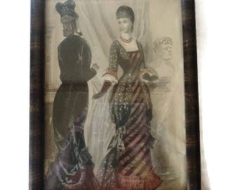 French Victorian Fashion Plate Hand Tinted Sketch In Antique Frame