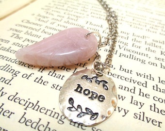 Rose Quartz Angel Wing + Hope Charm, Inspiration Necklace, Gemstone Necklace, Rose Quartz Necklace,Gift For Her,Hope Necklace,Charm Necklace