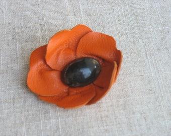 orange leather flower brooch, heart Horn