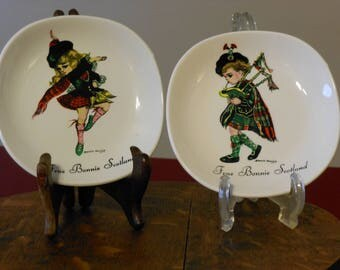 Two Brownie Downing Scot Girl & Boy Plates