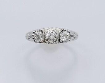 Art Deco .90ct. T.W. Diamond 3-Stone Antique Engagement Ring White Gold - J36384