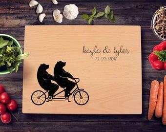 Personalized Cutting Board, Bears, Tandem Bike, Bridal Shower, Engagement Gift, Wedding, Anniversary, Custom Cheese Board, New Home