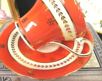 Aynsley Tea Cup and Saucer Corset Shape Orange & Gold Gilt Teacup