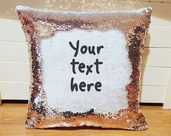 Personalised magic rose gold cushion custom text reveal pillow message cover only surprise wording gift mother's day present hidden message