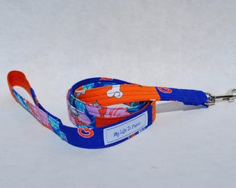 Dog Leash Small Dog Leash Dog Lead Multi Fabric OOAK Orange Blue