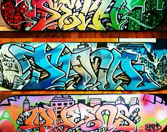 3 custom skateboard decks graffiti street art - free shipping