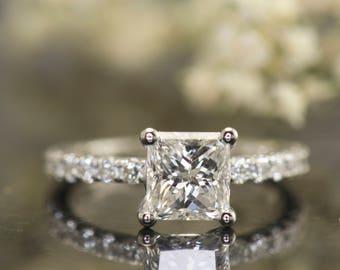 Princess Cut Moissanite & Diamond Engagement Ring in 14k White Gold, 6.5mm 1.20ct Forever One Moissanite, 0.48ctw Diamonds,  Nina S