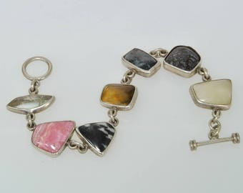 Made in Mexicop 950 Sterling Silver Multi Gemstone Quartz Tigers Eye Obsidian Jasper Agate Toggle MEXICO Bracelet