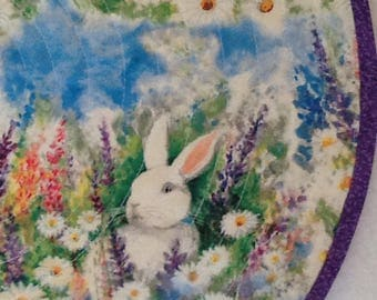 Easter Bunnies in the flower garden  , round placemats